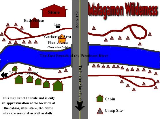 Matagamon Wilderness Campground & Cabins Campground Map
